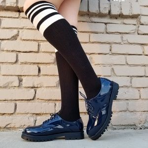 Shoes - Blue Vinyl Patent Leather Chunky Oxford Creepers